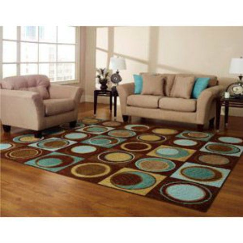 New blue turquoise brown aqua geometric area rug circles for Rug for brown couch