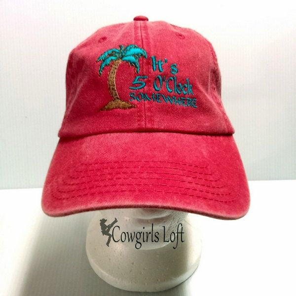 Embroidered Cap It's 5 O'Clock Somewhere Beach Palm Tree Red Hat Washed Cotton Denim Baseball Cap by CowgirlsLoft on Etsy