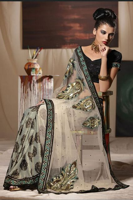 Beige Net Embroidered Wedding Saree #saree #sari #blouse #indian #outfit  #shaadi #bridal #fashion #style #desi #designer #wedding #gorgeous #beautiful