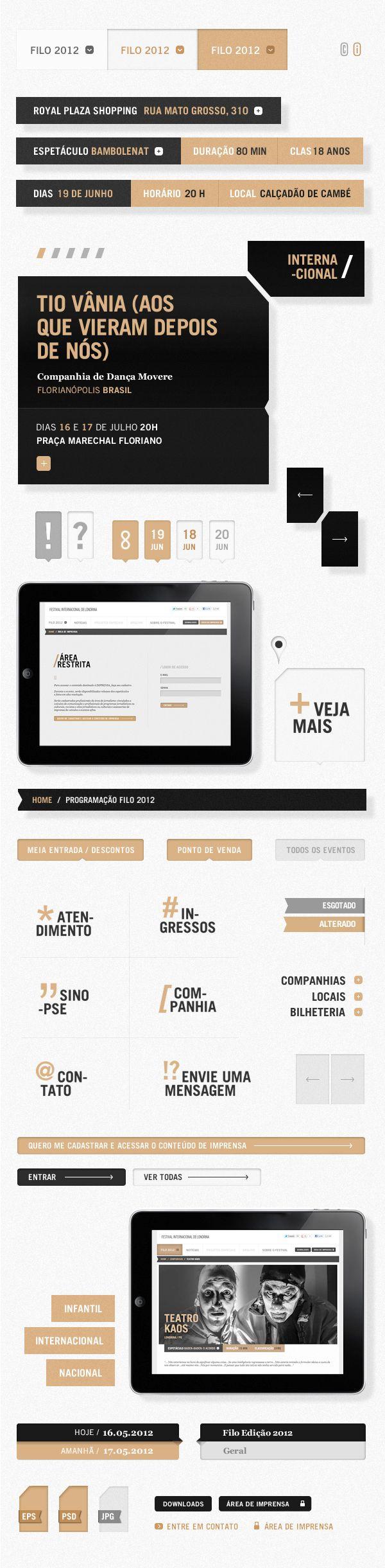 UI / Interface Design / Filo Festival 2012 | Londrina / Web Layout, Flat Design