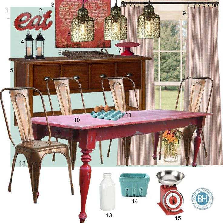Mood Board Turquoise And Red Dining Room Farmhouse Inspired