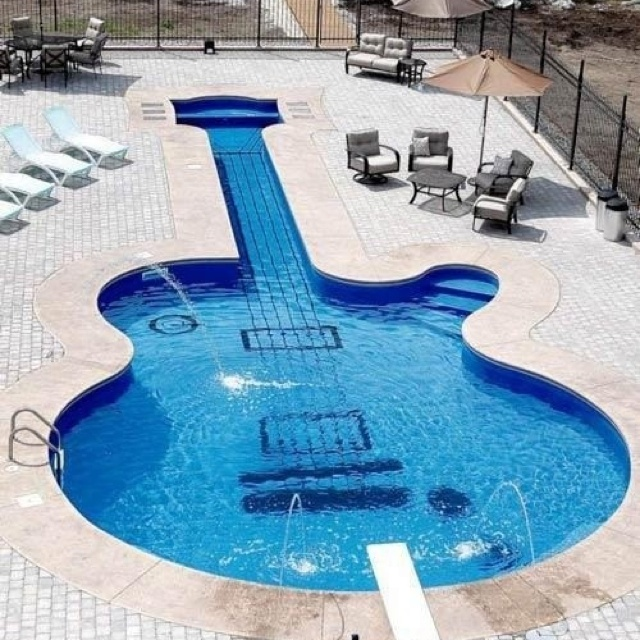 guitar shaped pool just cool stuff pinterest