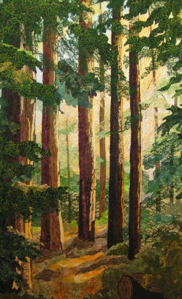 Peaceful Giants by Barbara Confer.  Landscape art quilt,  Humboldt Redwoods State Park.