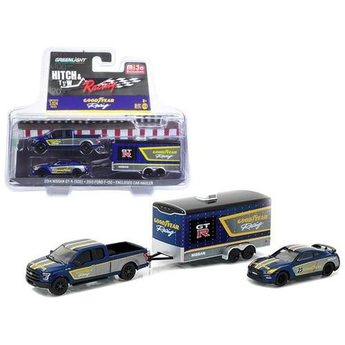 2015 Ford F-150 Pickup Truck and 2014 Nissan GT-R R35 with Car Hauler Good Year Racing Hitch & Tow Racing Edition 1/64 by Greenlight