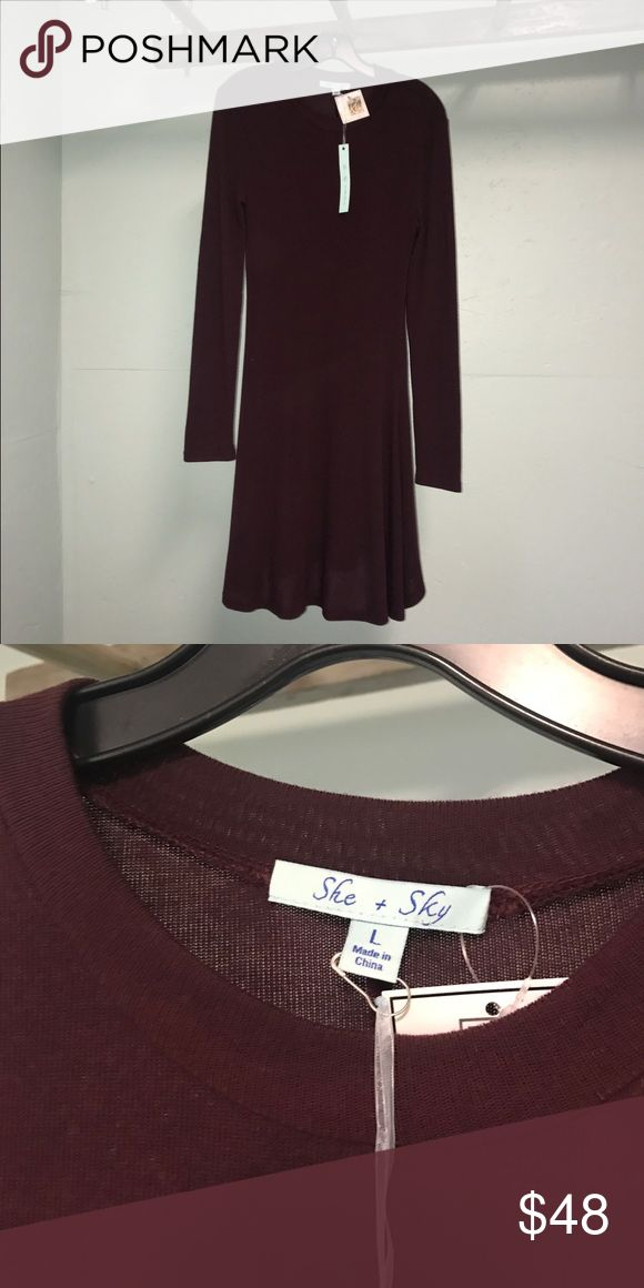 💥LOWEST PRICE💥 Cute plum dress Super cute plum modest dress. NWT super cute with boots and leggings or wedges! Size is Large but fits like a medium. Bundle and save with Guess shoes for a complete outfit!  (Wedges Sold separately below) She and Sky Dresses Midi