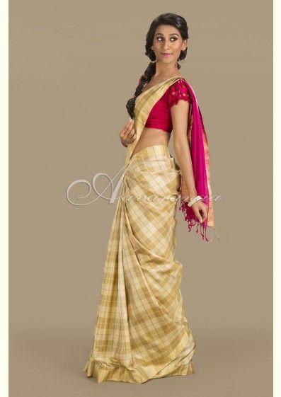 Light & dark beige silk Saree - Aavaranaa