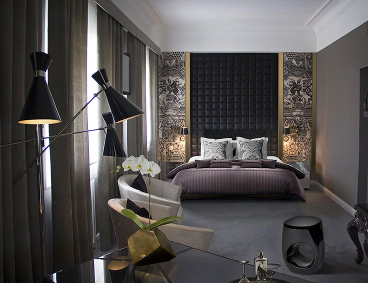 Let yourself be inspired by the following wonderful bedroom decoration which is composed of Charles suspension light in combination with the Reeves chair, the Piazzola wall light, the Diamond bathtub, as well as the Frank nightstand.