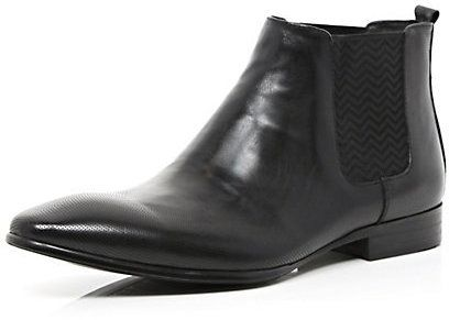 $80, Black Leather Chelsea Boots: River Island Black Leather Pointed Chelsea Boots. Sold by River Island. Click for more info: https://lookastic.com/men/shop_items/69340/redirect