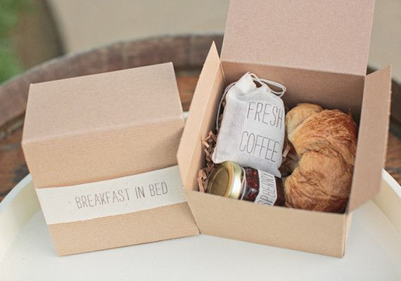 breakfast in bed take home favor -  note to self: How perfect for b&b favors. & box