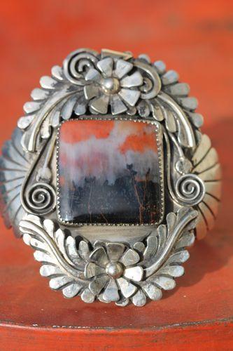 Vintage Navajo Nickel Silver Petrified Wood Landscape Agate Bracelet Ahasteen | eBay