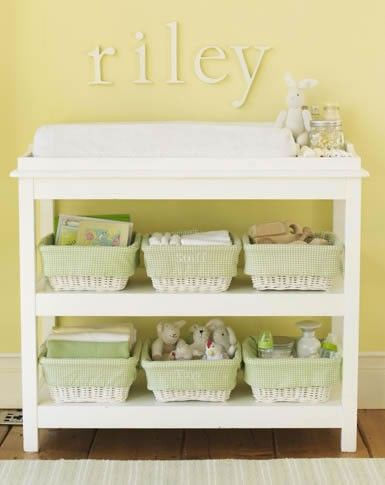 Like the open concept below with baskets and name plate above the change table