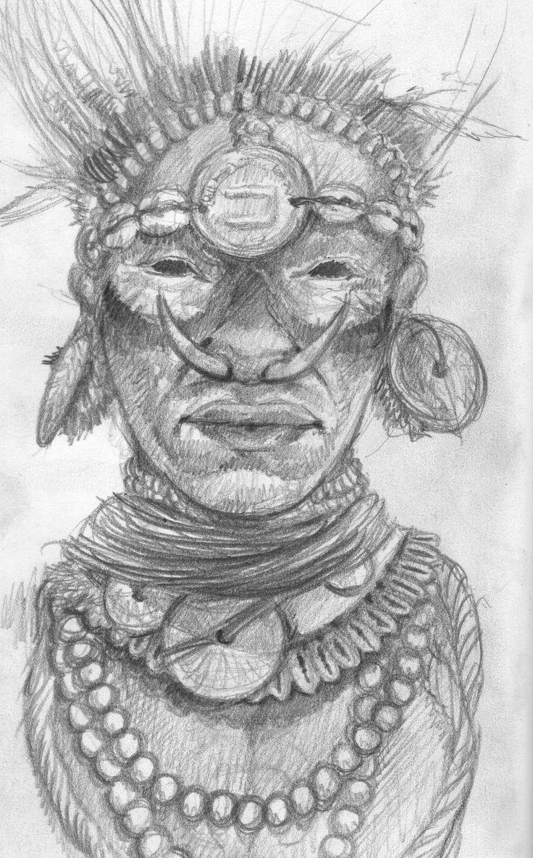 Polynesian face sketch