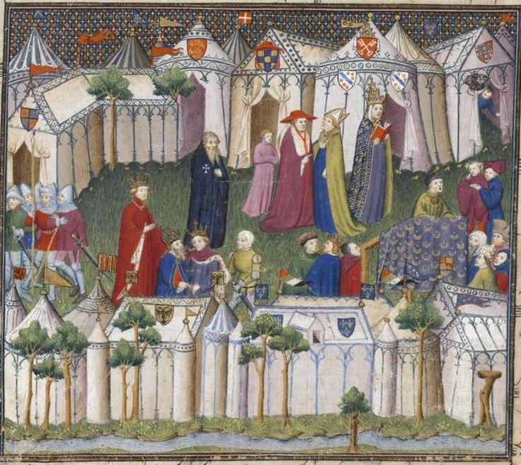 Medieval painting of encampments.