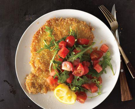 Pork Tonkatsu with Watermelon-Tomato Salad Recipe  at Epicurious.com
