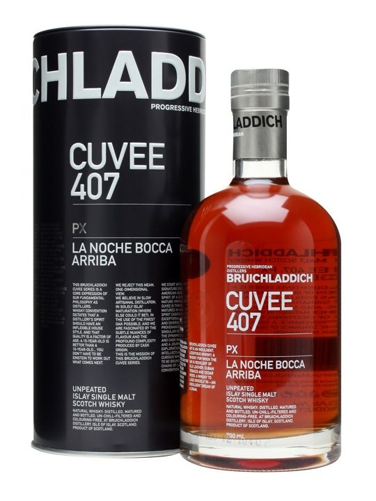 Bruichladdich Cuvee 407 / PX / 21 Year Old : Buy Online - The Whisky Exchange - One of the three initial releases in Bruichladdich's Cuvee range, Cuvee 407 is simply named PX and is subtitled 'La Noche Bocca Arriba', the title of a short story by Julio Cortázar. It's matured i...