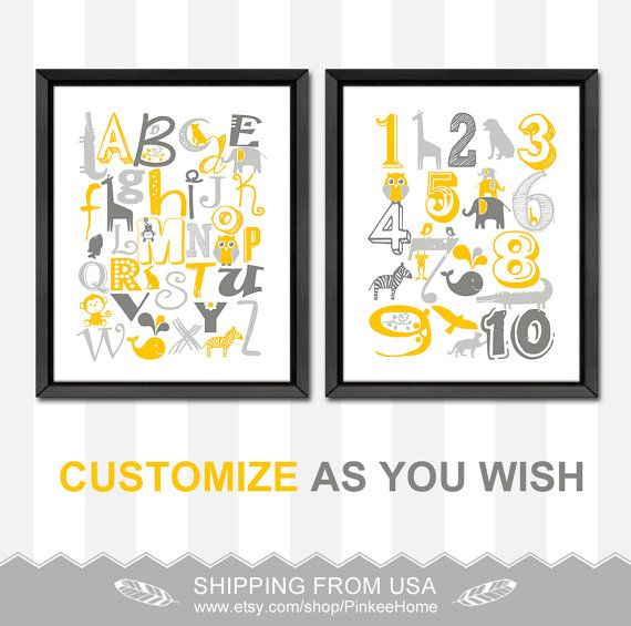 yellow gray animal alphabet poster baby nursery decor ABC wall decor new baby gift toddlers room alphabet nursery abc playroom abc nursery SET OF 2.