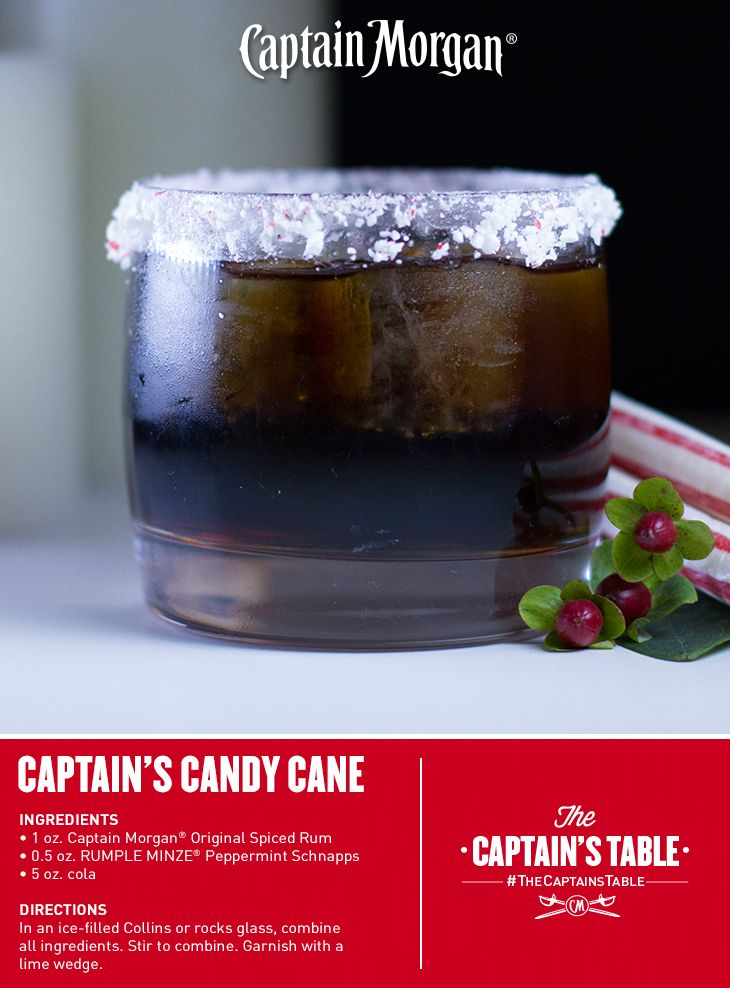 Classic Captain with a minty twist. You'll love this holiday cocktail!  Don't mind if I do!