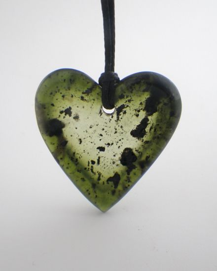 Valentines Jewellery; made in New Zealand.  Greenstone heart pendant on cord