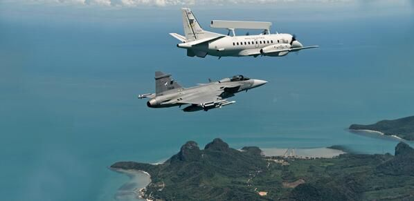 Royal Thai Air Force Saab Jas39 Gripen with a Royal Thai Air Force Saab AEW Saab 2000