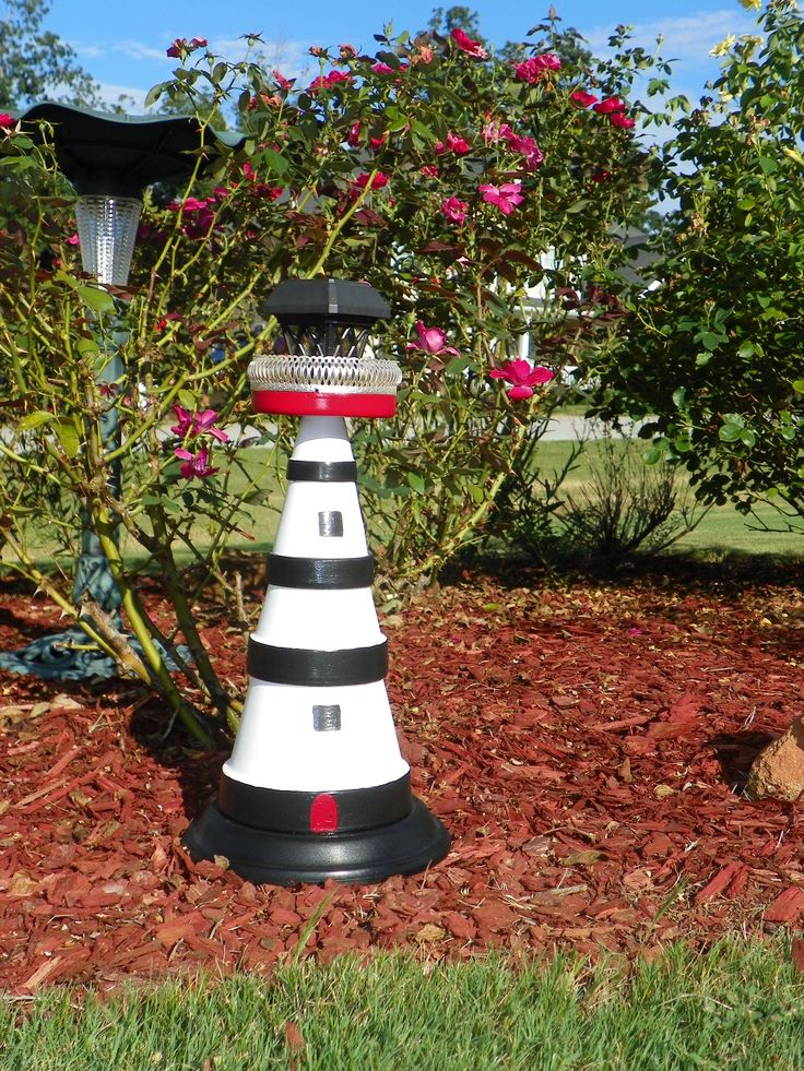 My terracotta solar lighthouse made by me garden for Terracotta gartendeko
