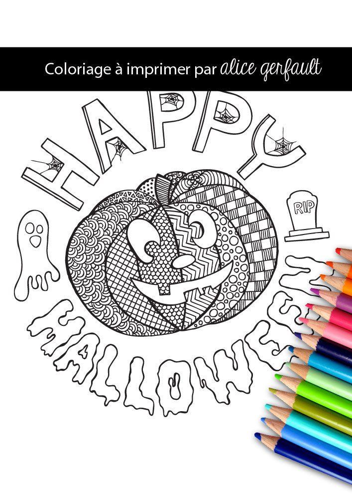 Page de coloriage happy halloween dessin la main pdf - Coloriage a imprimer a4 ...