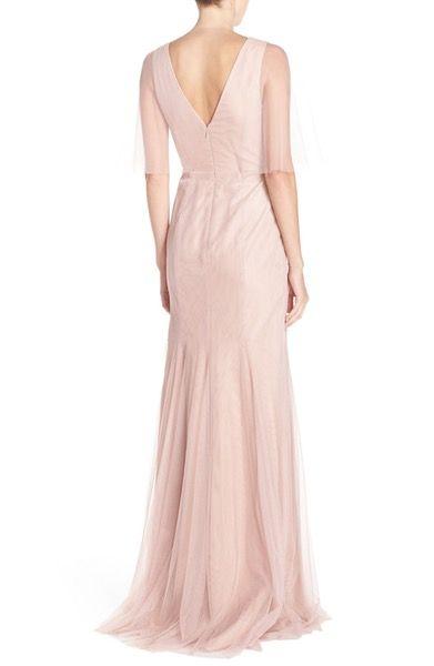 Main Image - Monique Lhuillier Bridesmaids Sheer Capelet V-Neck Tulle A-Line Gown