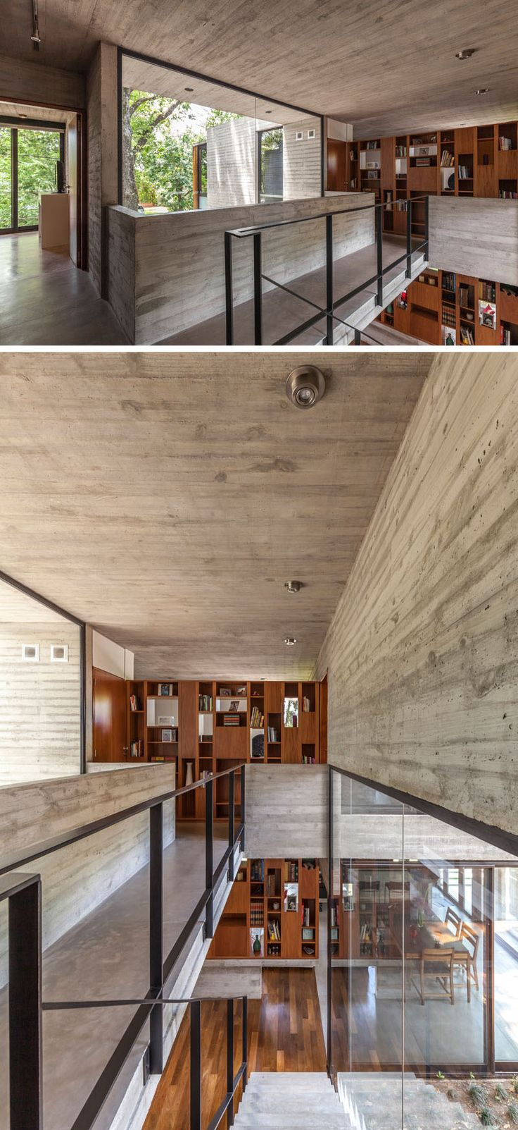 At the top of these concrete stairs and across a small bridge, there's wood cabinetry that matches the shelving downstairs. #WoodShelving #Concrete