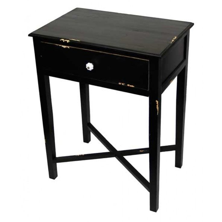 Bedside Tables Croix Base Black Made From Wood And Sporting A Distressed Finish This