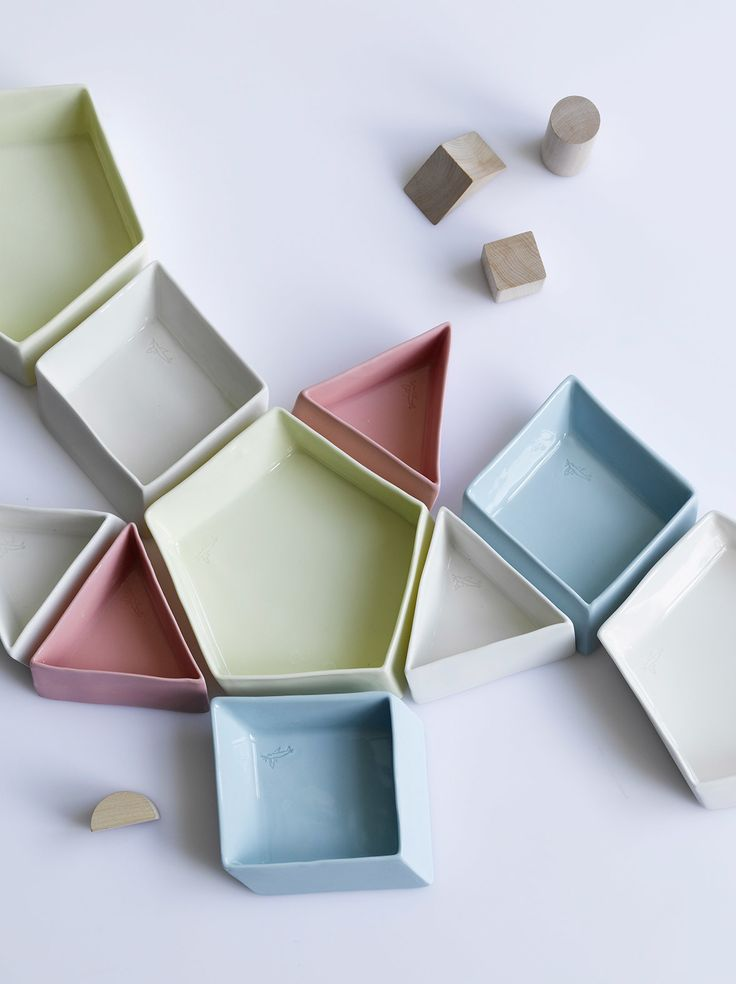 Tessellate Series in pastels by Hayden Youlley Design #porcelain #handmade #ceramic