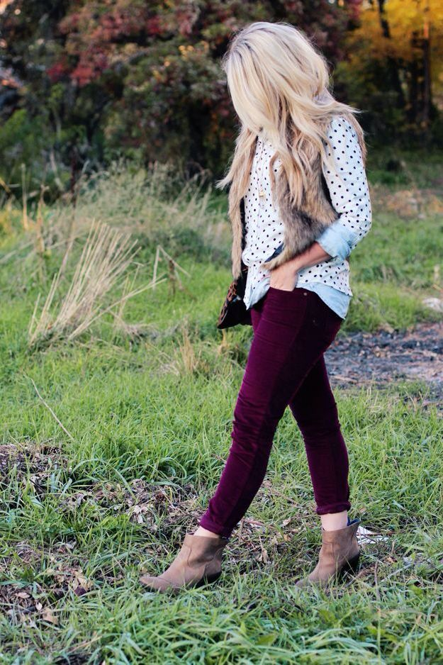 Burgundy pants, fur vest, booties, dot sweater - love it all!