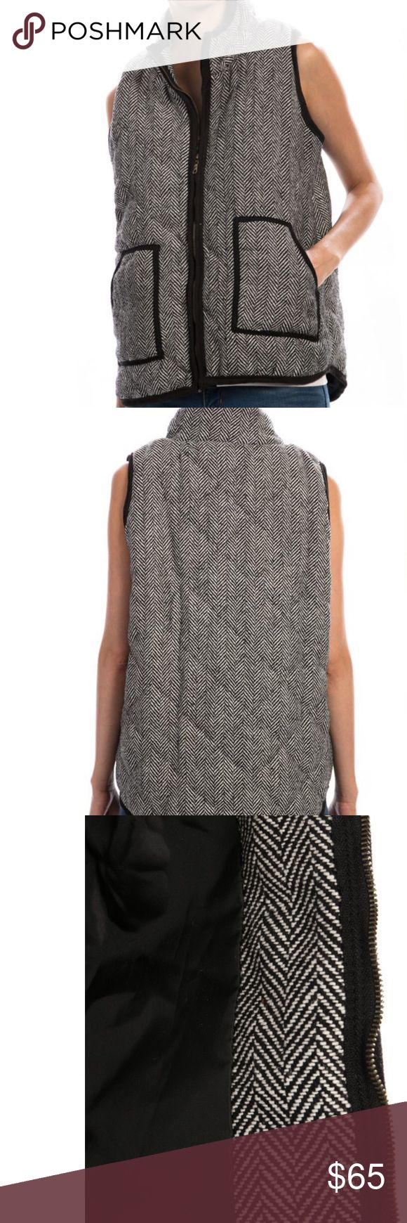 Black Herringbone Vest With Piping NWT Great Black Herringbone Vest With Black Contrast Piping is Perfect For Layering.   Zip Up. 24 Inches Long.  100% Cotton. Jackets & Coats Vests