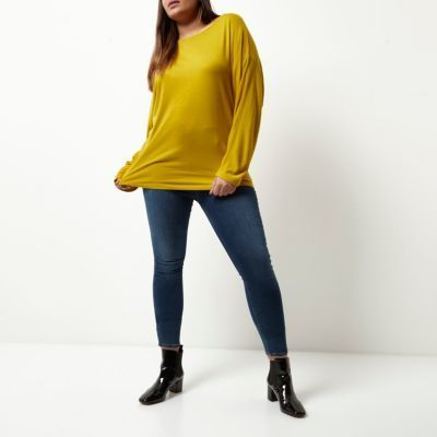 River Island Womens Plus mustard yellow batwing top