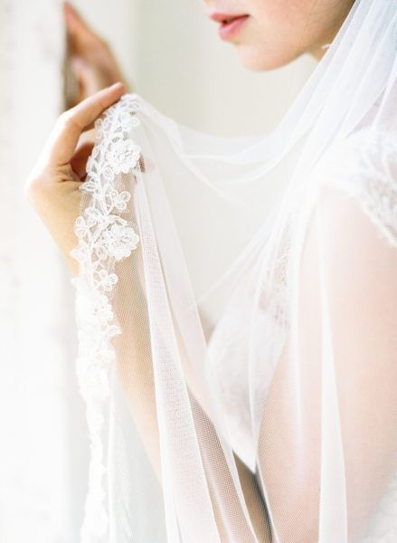 Florence fingertip wedding veil with corded lace edge