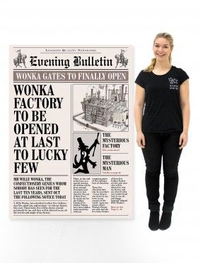 Charlie and the Chocolate Factory Newspaper Front Page (Licensed)