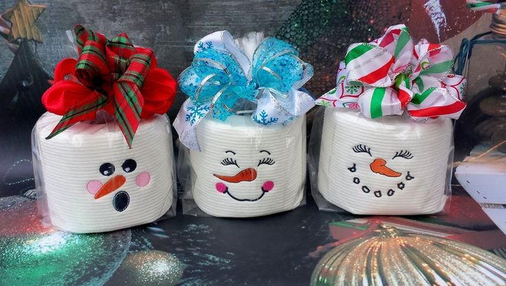 Embroidered toilet paper. Snowman Embroidered Toilet Paper
