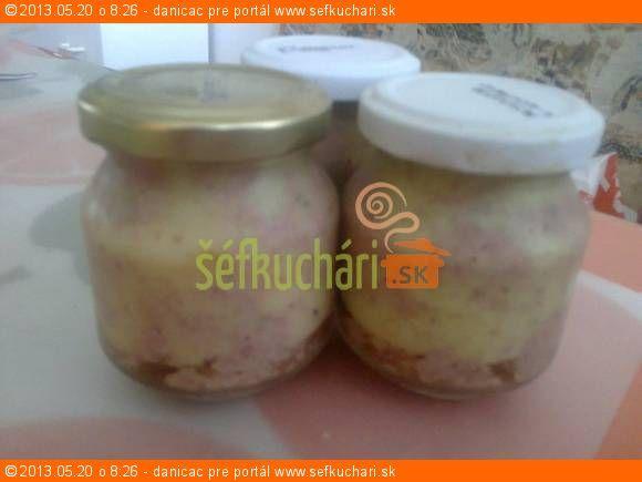Pečeňová paštéta 1 kg bravčovej pečienky (lepšie je dať polovicu kuracej pečienky, má to lepšiu chuť) 1,20 kg slanina 2,5 dkg soľ  korenie: čierne - 20 zrniek nové - 10 zrniek trochu tymiánu 1 bobkový list kúsok zázvoru kúsok muškátového orechu 3 klinčeky (alebo nahradiť 2 PL korenia na mleté mäso) Všetko pokrájať, posoliť a pomleť najemno (pečienku najprv na 2 minúty do horúcej vody - lepšie sa krája) vymiešať do peny. Naložiť do pohárov a dunstovať pri 80°C 60-80 minút. Plniť 2 cm od…