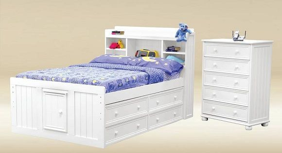 Beatrice Full Size Bookcase Captain S Bed White White Bedding