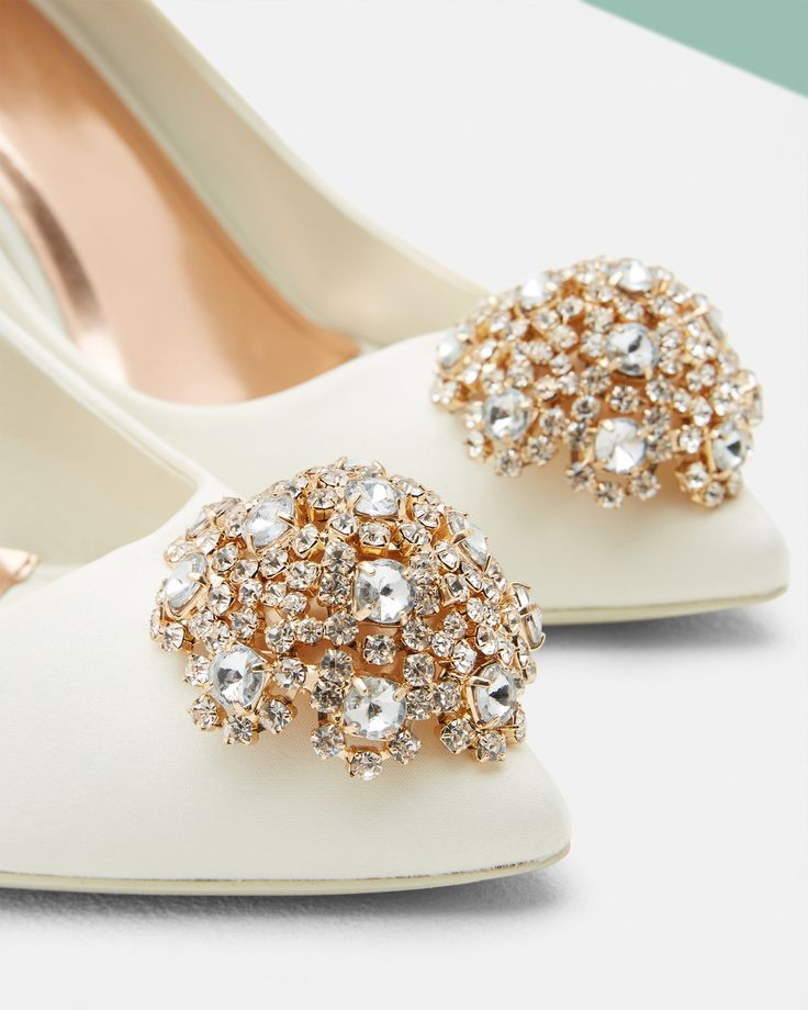 BRIDAL SHOES: Ted's brooch detail courts will put a twinkle in your step as you walk down the aisle on your wedding day. #WedWithTed