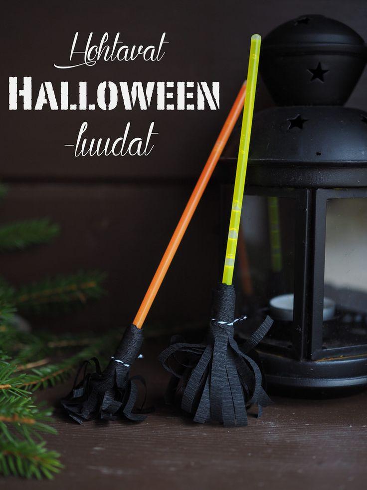Halloween Glow Stick Brooms / Halloween koristeet - hohtavat luudat valotikuista