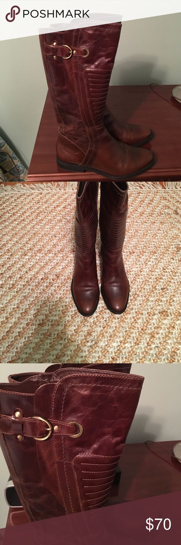 "Carlos Santana boots size 9. Carlos Santana '""Momentum "" boots. Size 9. Brown. Zip up on the inside. Super good condition. I only wore them 4-5 times because the size was too small. 1 inch heel. Carlos Santana Shoes Heeled Boots"