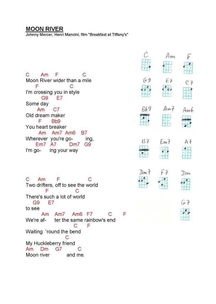 Moon River - Ukulele Chords                                                                                                                                                                                 More
