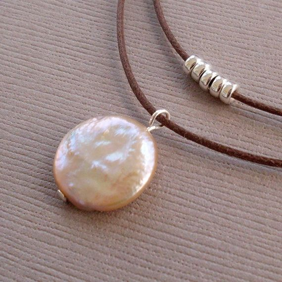 Double strand brown cord with coin pearl and sterling silver necklace ♥