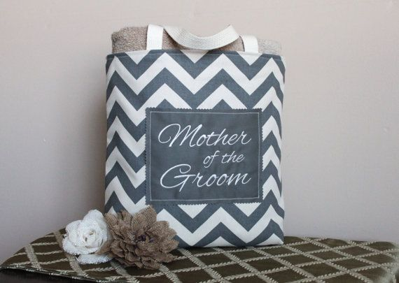Grey Chevron Tote in Duck Cloth Canvas - Mother of the Groom, Mother of the Bride, Bridesmaid, Wedding, Purse, Beach, Gift-Favor-Goodie Bag