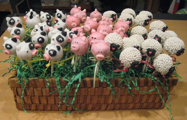 Farm animal cake pops - Yellow butter cake with chocolate ganache. Decorated with fondant.