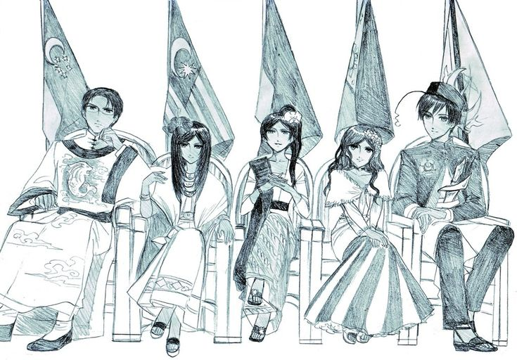 """Singapore - Malaysia - Indonesia - Philippines - Brunei, from """"Maaf"""" (forgive/apologize) Historical Hetalia Doujin of colonization in Indonesia from the 14th century to the end of World War II by http://dinosaurusgede.deviantart.com/"""