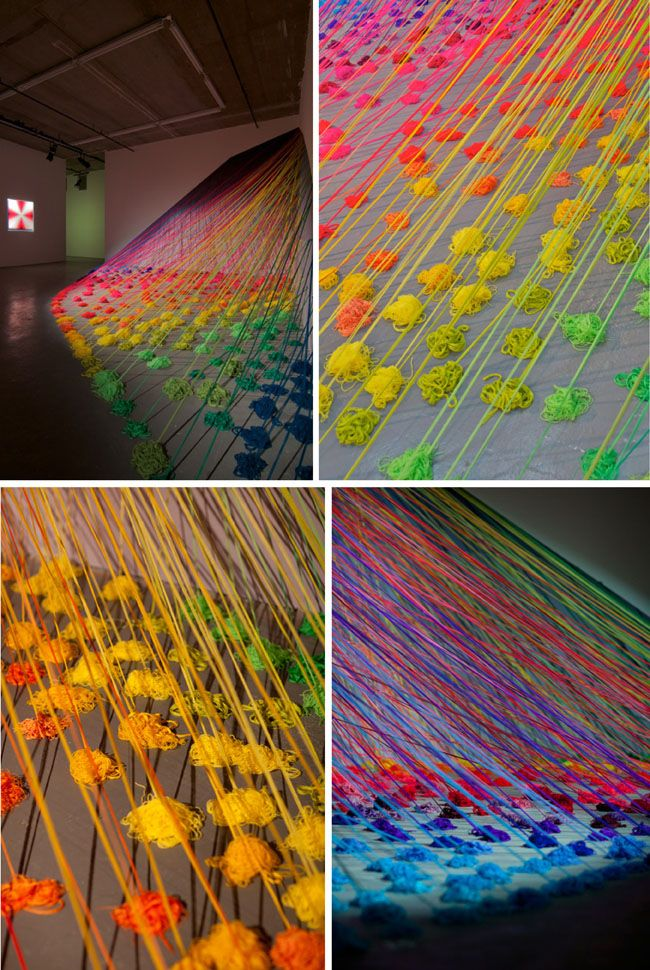 'Refractive Monolith' by Lee Baker (10 thousand metres or 32,808 feet of colourful yarn)