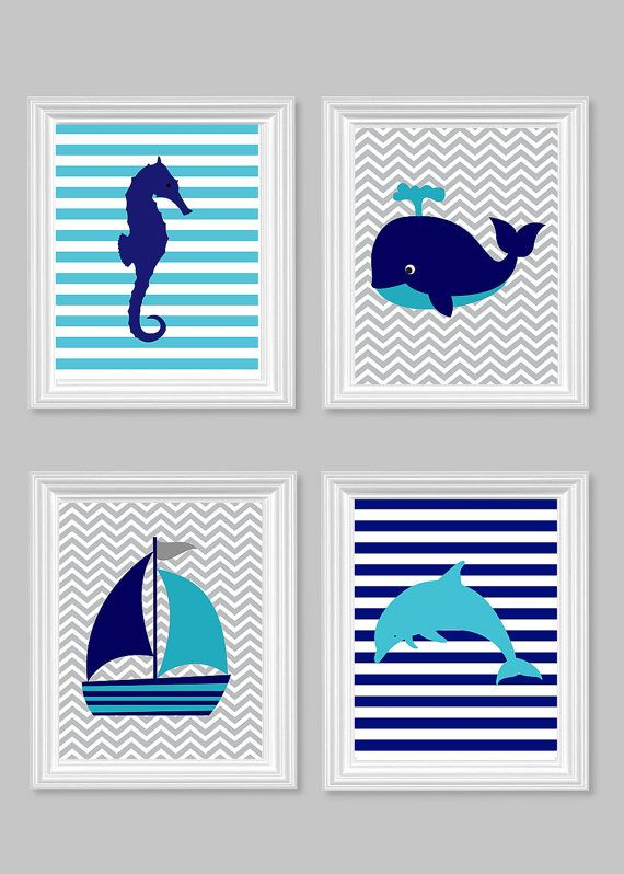 Nautical Nursery Seahorse Sailboat Dolphin Whale Set of Four Prints Chevron Stripes teal turquoise navy gray sea ocean baby 8 x 10   11 x 14