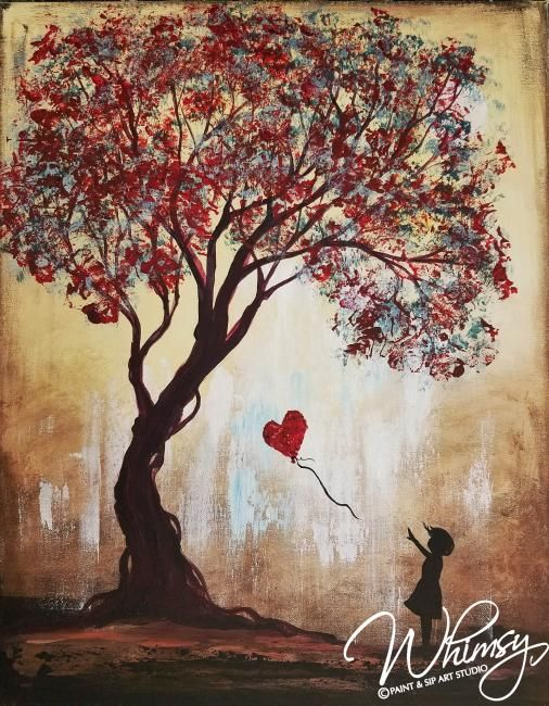Autumn tree painting with girl and heart. RezClick - Whimsy Paint and Sip.