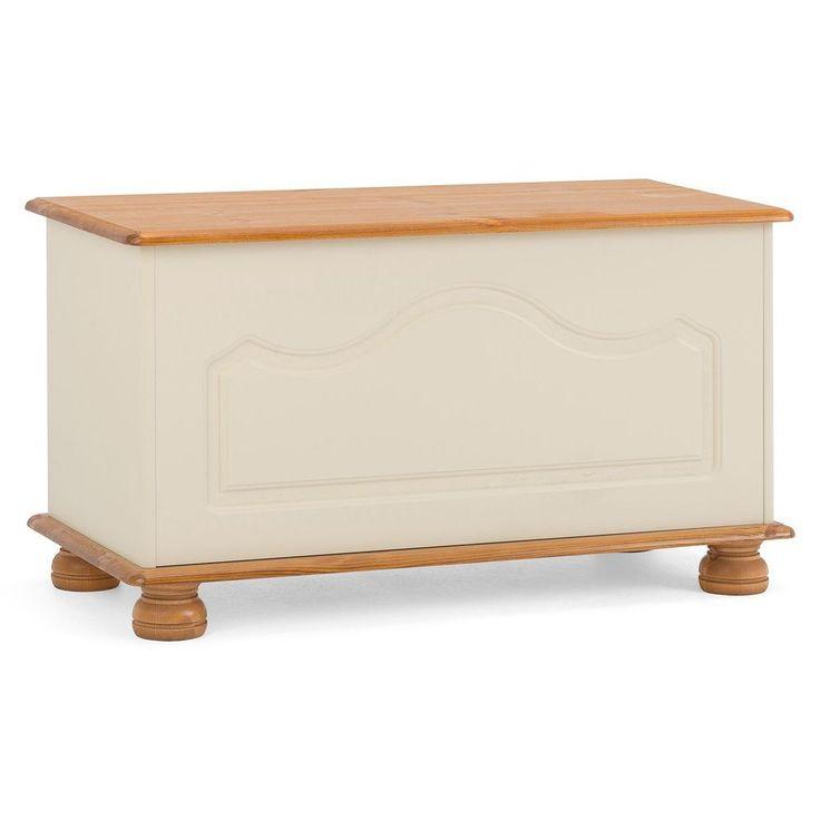 Wooden Ottoman Storage Cream Natural Colour Solid Pine Hallway Bedroom Furniture