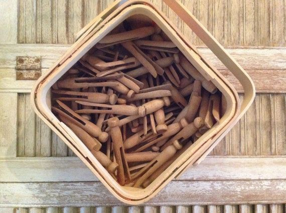 Vintage Wooden clothespins / 54 pieces wooden clothespins / wooden craft supply / farmhouse laundry decor / clothespegs